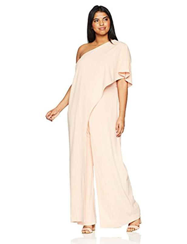 4bea0703812 Adrianna Papell. Women s Plus Size One Shoulder Draped Jumpsuit