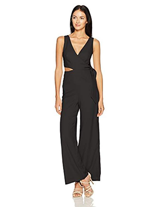 4d82281b05d9 Finders Keepers. Women s Black Breezeblocks Cutout Sleeveless Flare Wrap  Jumpsuit