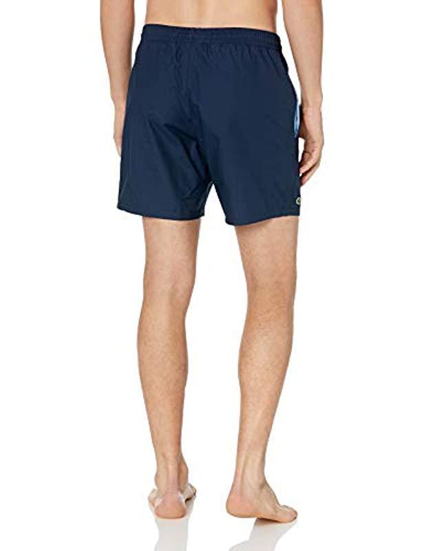 Lyst Swimmer Blue For Lacoste Taffeta Men Mid Solid In Length m8wvN0n