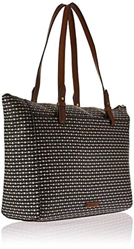 79518172aaa7 Fossil - Black Rachel Striped Zip Tote - Lyst. View fullscreen