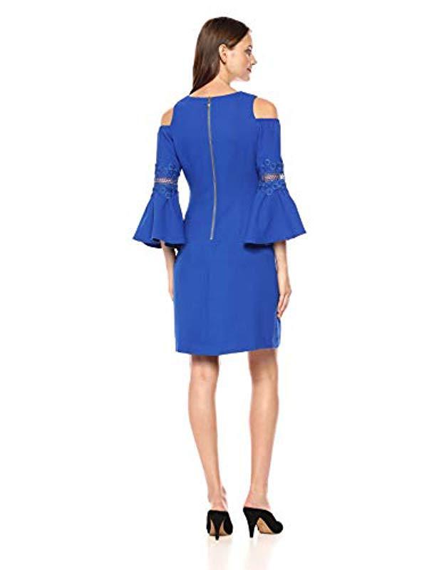 7d0dad0ec33f Lyst - Eliza J Cold Shoulder A-line Dress in Blue - Save 85%