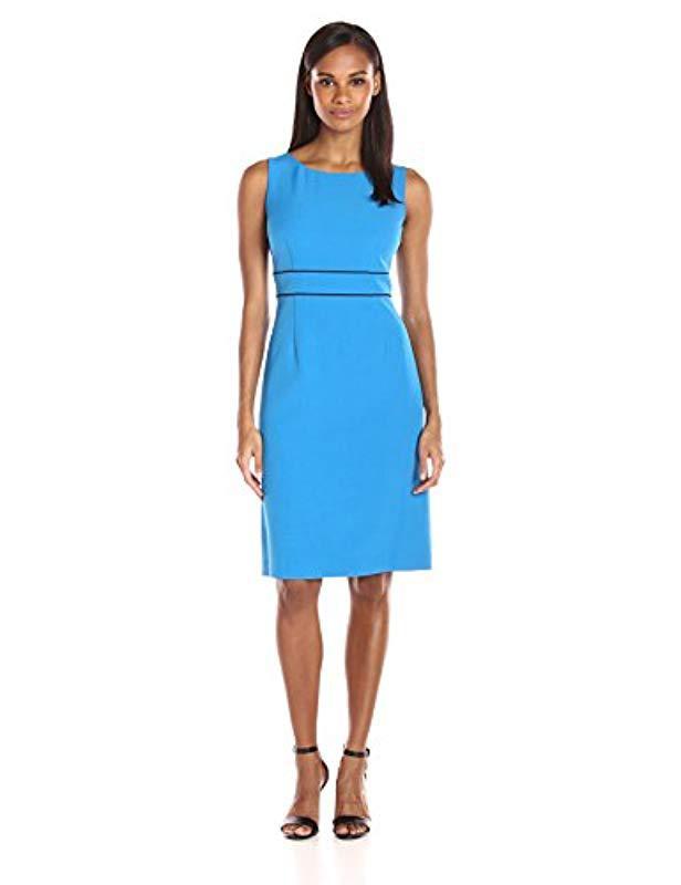 fb602a29 Lyst - Kasper Stretch Crepe Sheath Dress W/front Slit in Blue