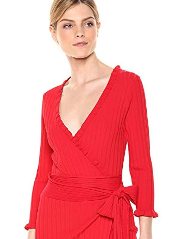 31976591ca Lyst - MILLY Knit Long Sleeve Ruffle Edge Wrap Dress in Red