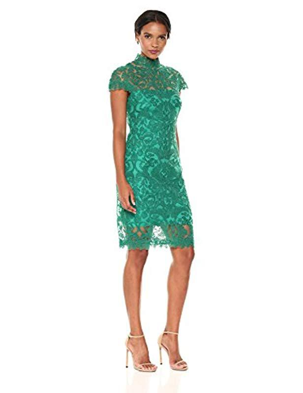 394348befc8 Lyst - Tadashi Shoji Corded Lace Cap-sleeve Dress in Green