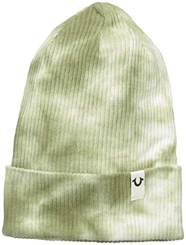 a6eb45714d97d Lyst - True Religion Marble Dye Knit Beanie in Green for Men - Save 23%