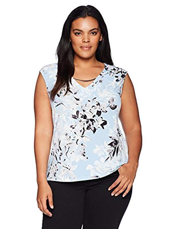 a0db699d Lyst - Calvin Klein Plus Size S/l Top W/curv Bar in Blue - Save 7%