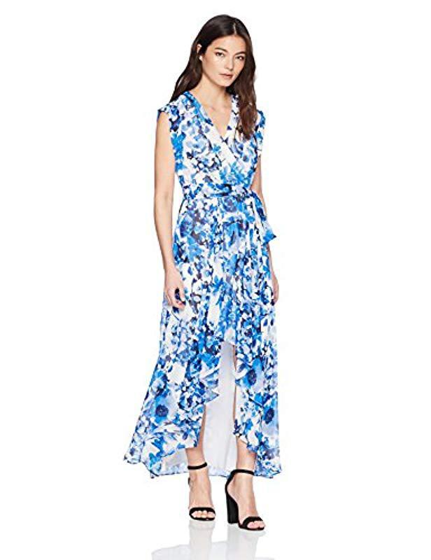 7b4875ca99b3 Lyst - Eliza J Surplus High-low Dress (regular   Petite) in Blue