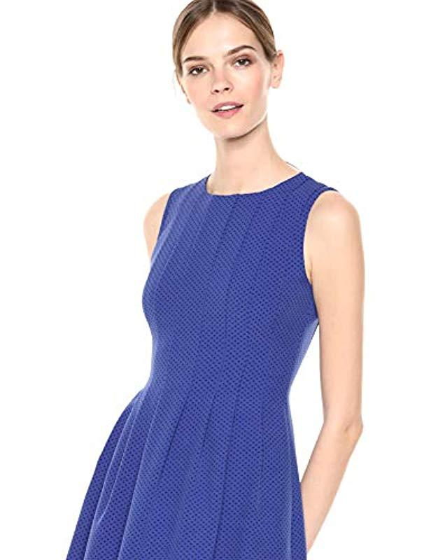 8477571b50 Lyst - Anne Klein Crepe Seamed Fit   Flare Dress in Blue