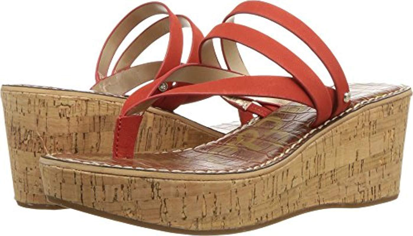 24da28d23c2b Lyst - Sam Edelman Rasha Wedge Sandal in Red - Save 29%
