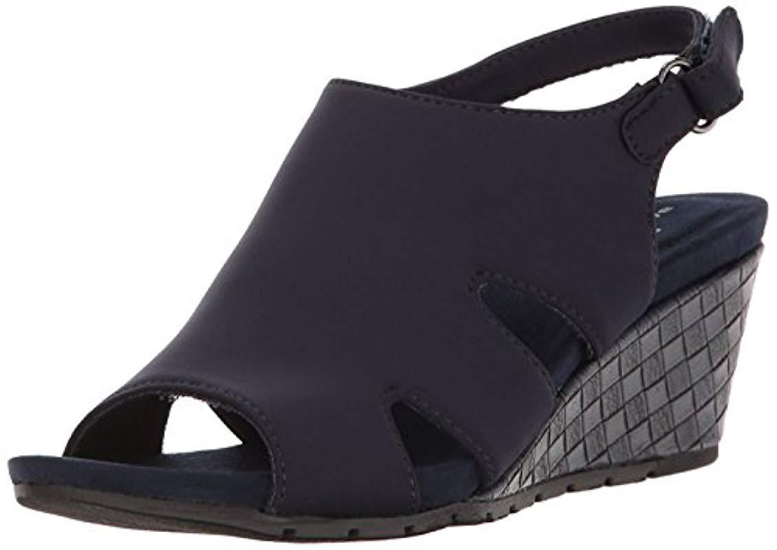 85ec7a13c992 Lyst - Bandolino Galedale Wedge Sandal in Blue - Save 2%