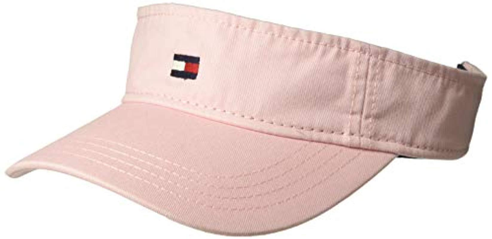 1f3afa90723 Lyst - Tommy Hilfiger Dad Hat Flag Solid Cotton Visor in Pink for Men