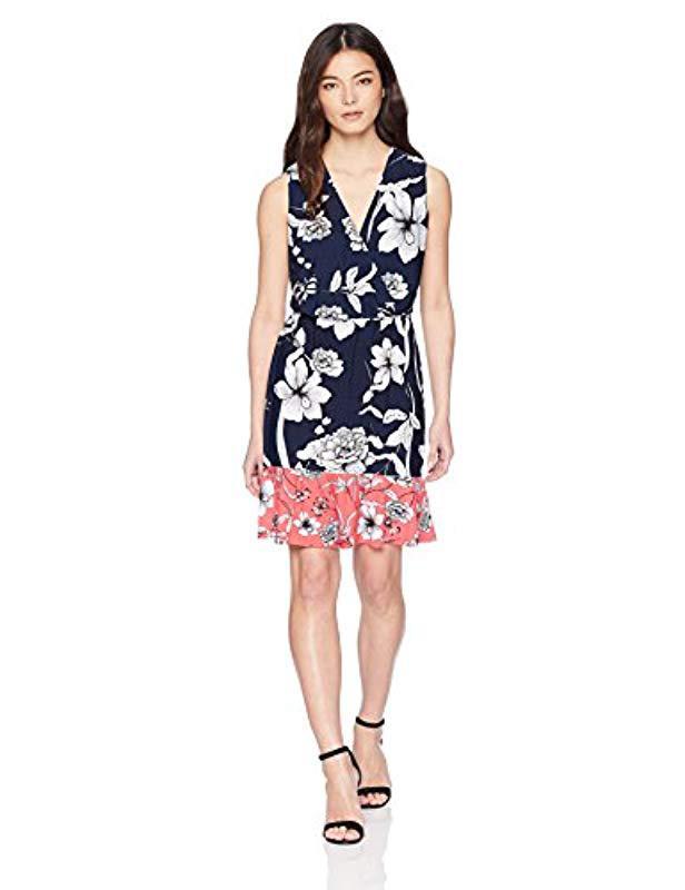 72555af0004b Lyst - Eliza J Printed Surplus Dress With Ruffle Hem (regular ...