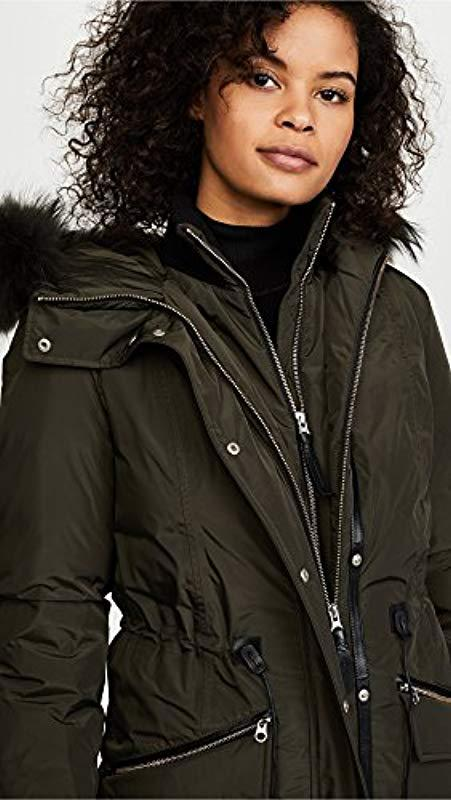 4a350260c Lyst - Mackage Katryn Hip Length Classic Down Jacket With Fur Hood ...