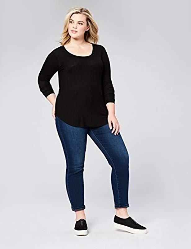 a6679d60edbfda Lyst - Daily Ritual Plus Size Ribbed Long-sleeve Scoop Neck Shirt in Black