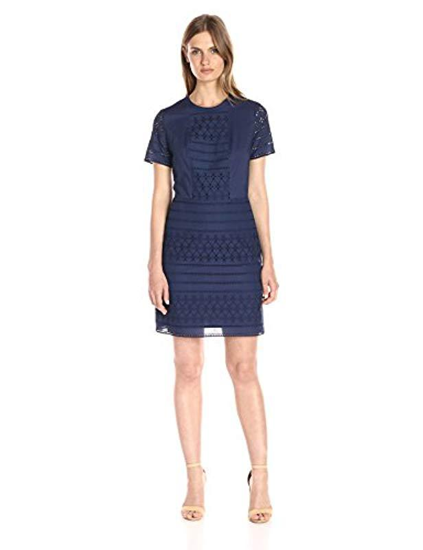 9dff92bffbd Lyst - Lark   Ro Short Sleeve Eyelet A-line Dress in Blue - Save 29%