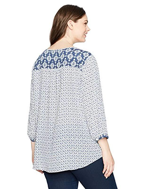 678a57cad1c Lyst - Nydj Plus-size Mixed Print Peasant Blouse in Blue