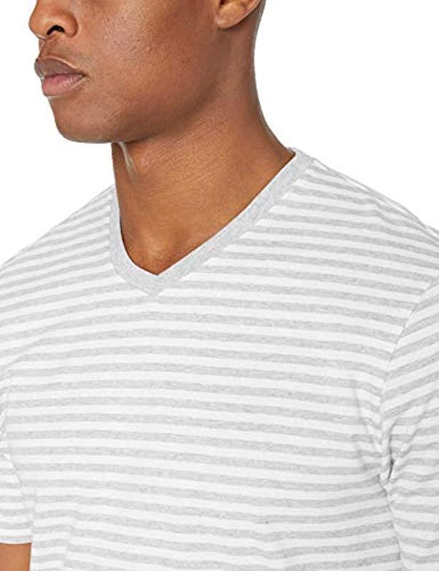 85ac4e3f96 Amazon Essentials - White Loose-fit Short-sleeve Stripe V-neck T-. View  fullscreen