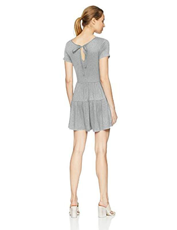 bb2e4c4a8f02 Lyst - Kensie Light Weight French Terry Romper With Ribbon Tie Back in Gray  - Save 65.82278481012659%