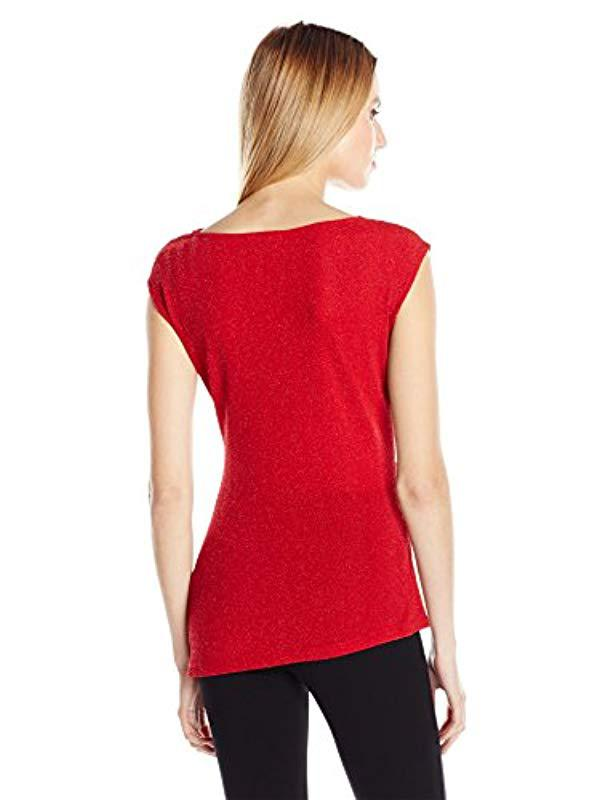 dc5a96910b0ef Lyst - Calvin Klein Lurex Cowl Neck Top in Red - Save 33%