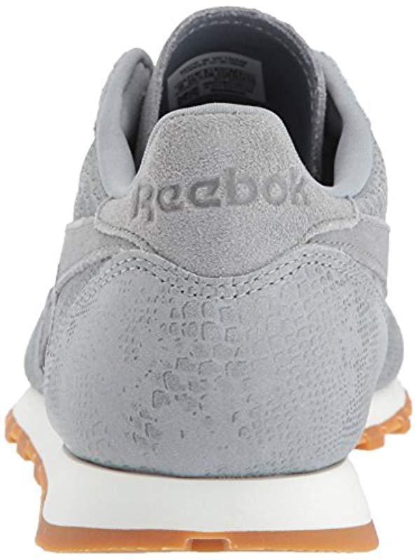 33ca89c85c2 Reebok - Gray Cl Lthr Clean Exotic Print Track Shoe - Lyst. View fullscreen