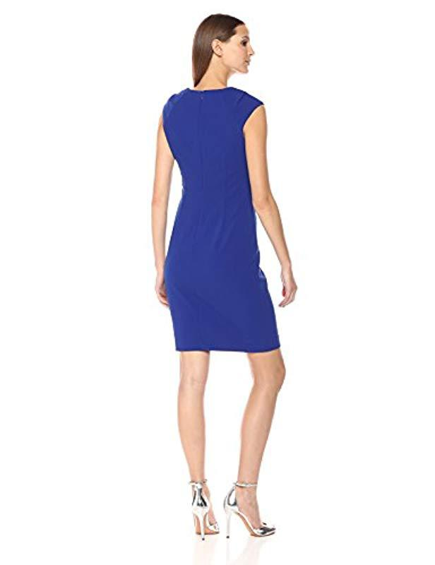 06c39dcb Lyst - Calvin Klein Cap Sleeved Sheath With Horseshoe Neckline Dress in  Blue - Save 4%