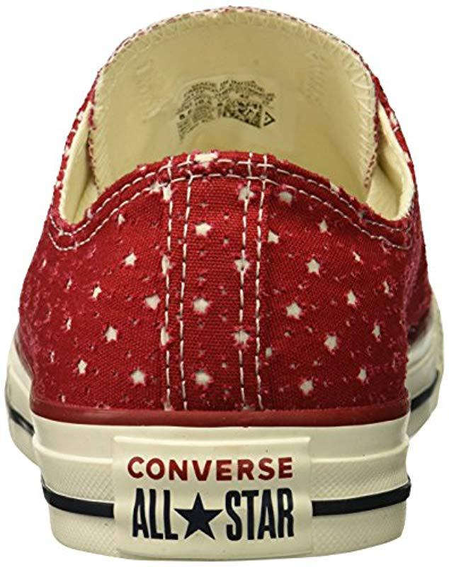 b47b1f64366572 Lyst - Converse Unisex Chuck Taylor Perforated Stars Low Top Sneaker in Red  for Men - Save 27%