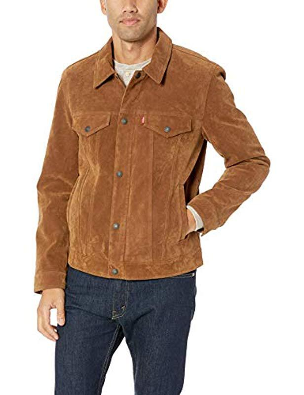 594697d7ade Lyst - Levi s Smooth Lamb Touch Faux Leather Classic Trucker Jacket ...
