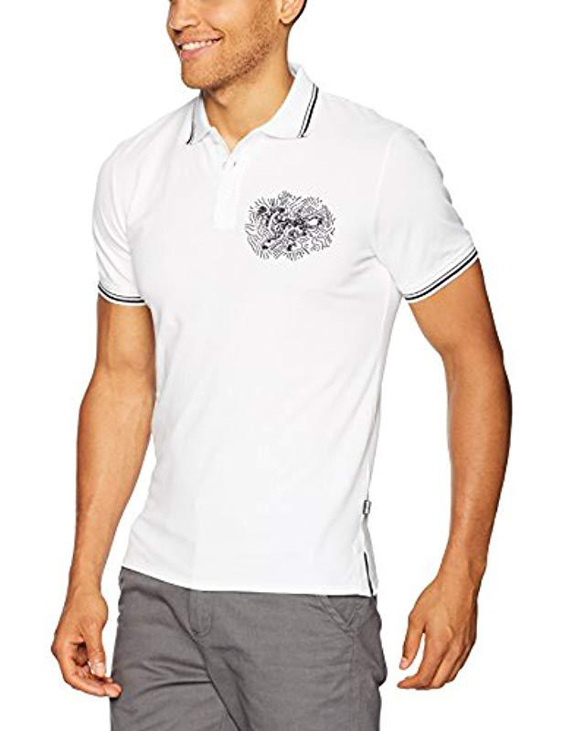 2bbb932b Lyst - Just Cavalli Graphic Polo Tee in White for Men