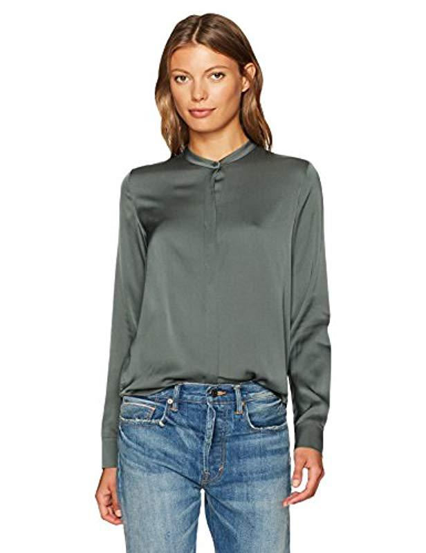 d312d2b56ee89 Lyst - Vince Band Collar Blouse in Green