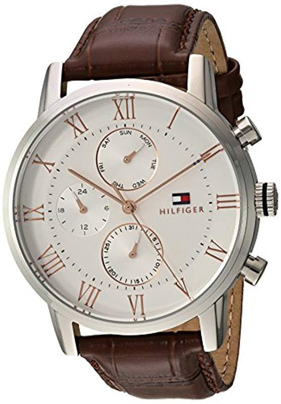 07fbead9fbd01 Tommy Hilfiger. Men s Sophisticated Sport Stainless Steel Quartz Watch With Leather  Strap ...