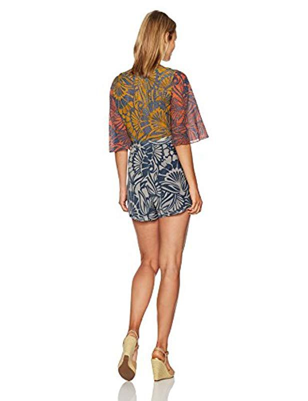 0335e437ed93 Lyst - BCBGMAXAZRIA Ivy Floral Print Blocked Tie Front Woven Sportswear  Romper in Blue - Save 35%
