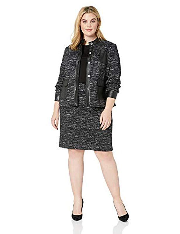 831bf4978d9 Lyst - Calvin Klein Plus Size Ponte Button Front Jacket in Black