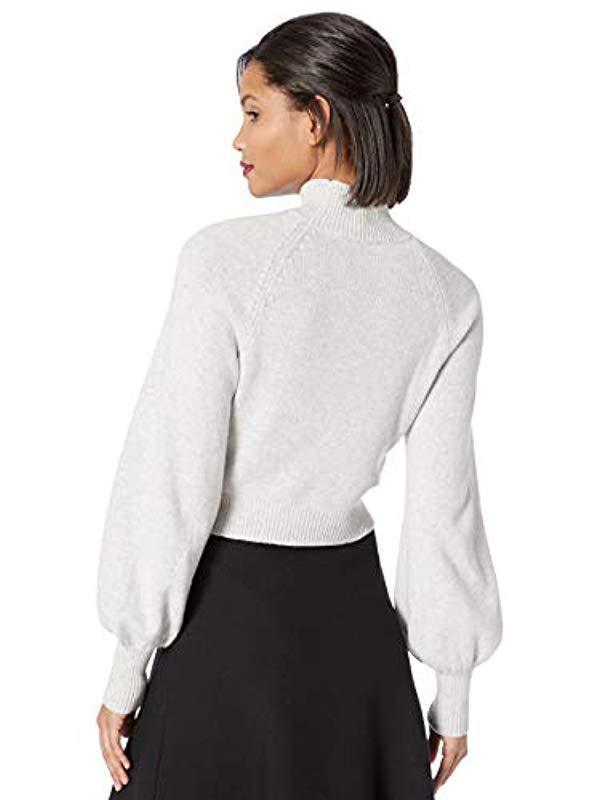 f33571485f7 Lyst - BCBGMAXAZRIA Turtleneck Cropped Sweater in White