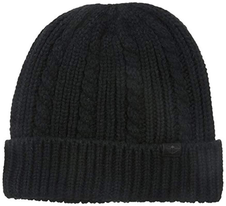 dcc06f63eaa Lyst - Dockers Cable Knit Beanie Hat in Black for Men