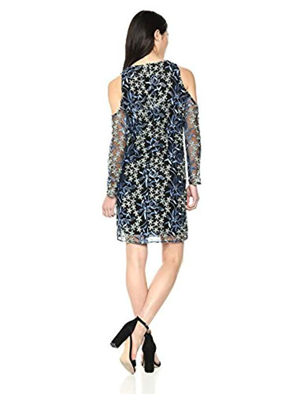 18e9e593d8d9 Lyst - Sam Edelman Cold Shoulder Embroidered Mesh Dress in Blue