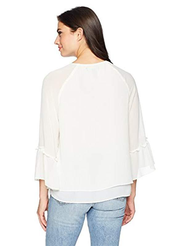 Lyst Ellen Tracy Blouse With Metal Bead Trim In White