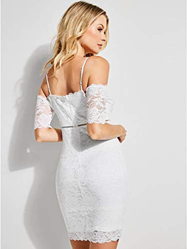 4b8d416c0d Guess Off The Shoulder Marcy Lace Dress in White - Lyst