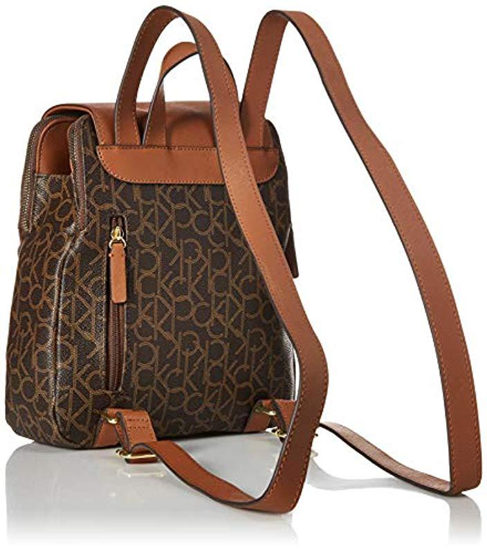 b6cb6117d500 Calvin Klein - Brown Elaine Signature Key Item Flap Backpack - Lyst. View  fullscreen