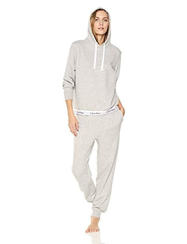 4408c7e44f9f Lyst - Calvin Klein Modern Cotton Lounge Drawstring Hoodie in Gray - Save  31%