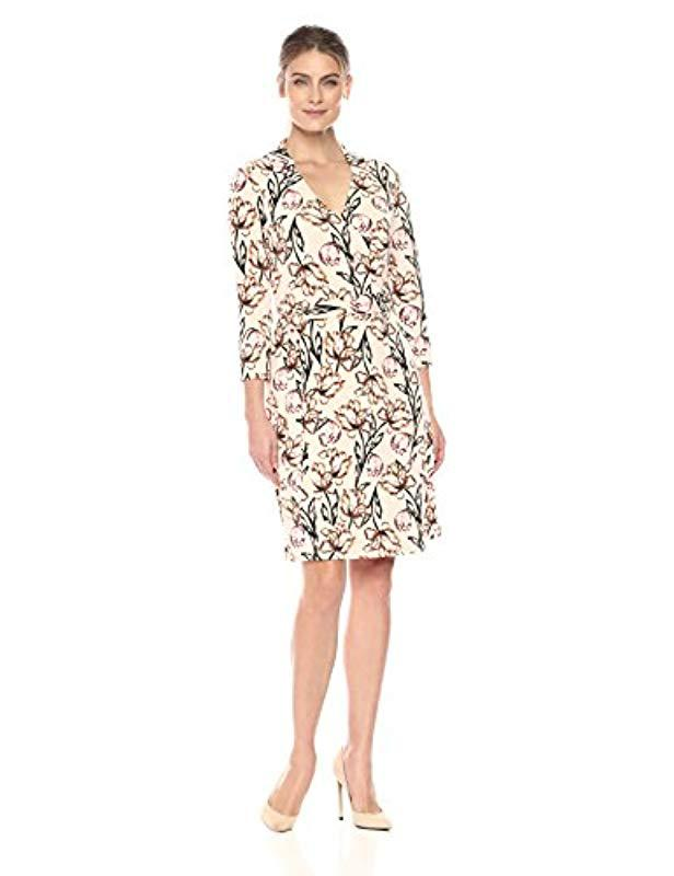 4b1051c755f Lyst - Lark   Ro Three Quarter Sleeve Patterned Wrap Dress - Save 29%