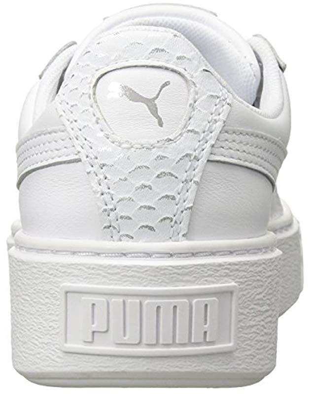 829cc087f1a44a Lyst - PUMA Basket Platform Ocean Wn Sneaker in White