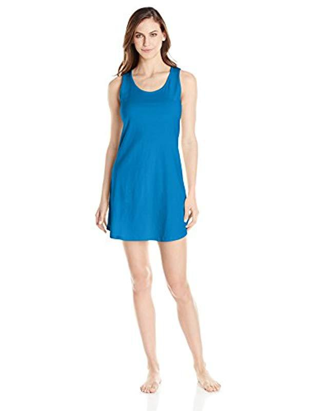Lyst - Jockey Sleepwear 100% Cotton Sleeveless Sleep Shirt in Blue ... 52ac61b72