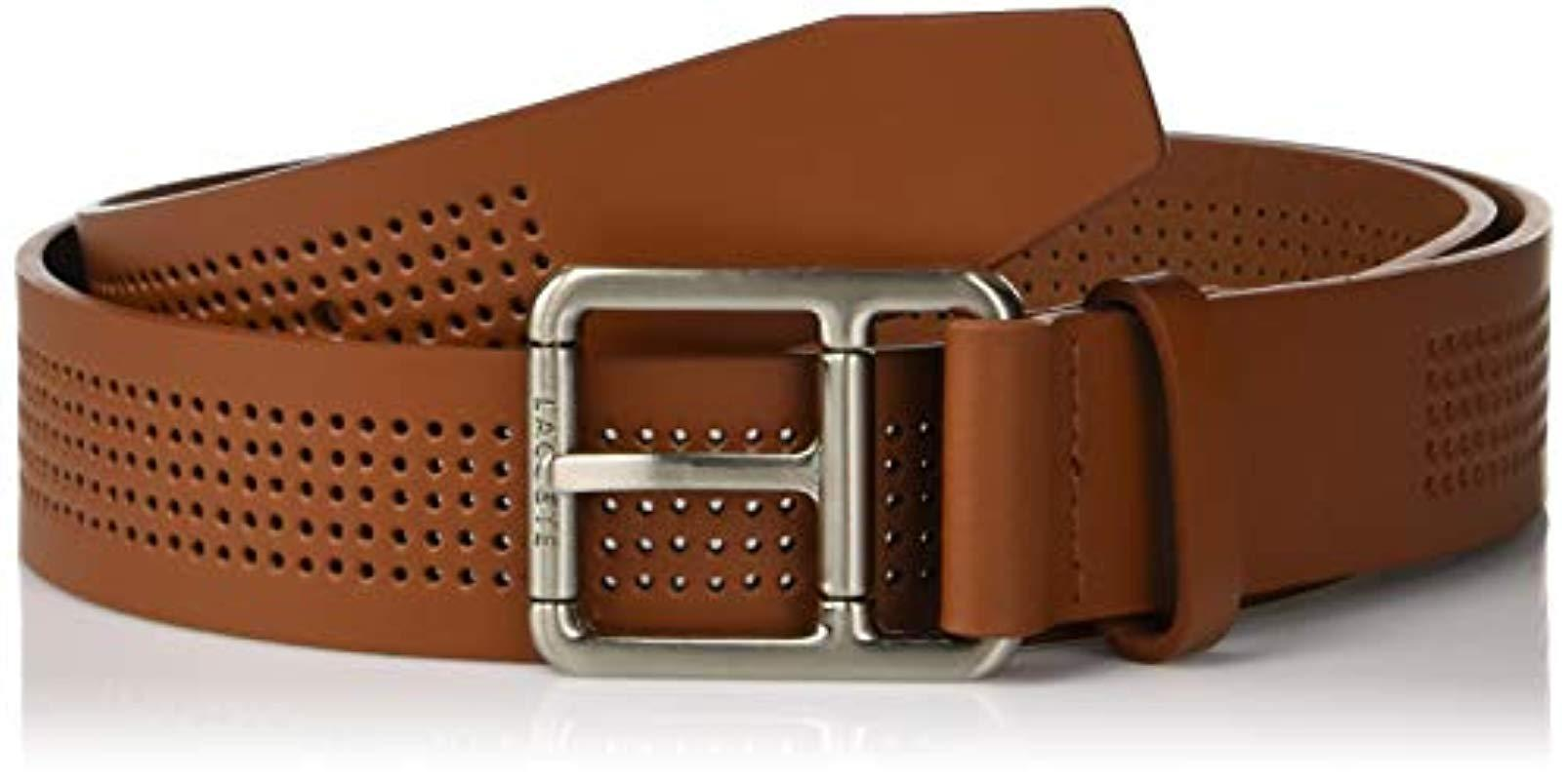 57b25481c Lyst - Lacoste Perforated Leather Belt W roller Buckle in Brown for ...