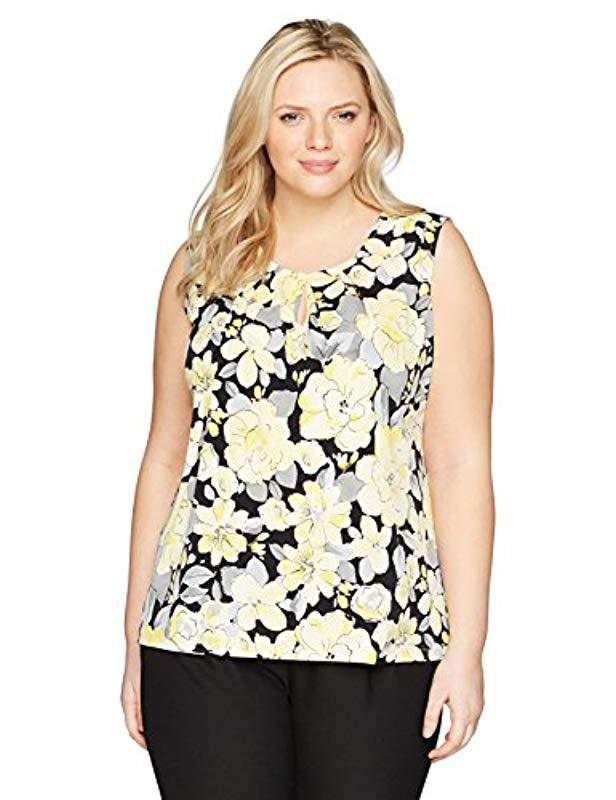 3bc3e0f52ee249 Lyst - Kasper Plus Size Floral Ity Pleat Neck With Keyhole