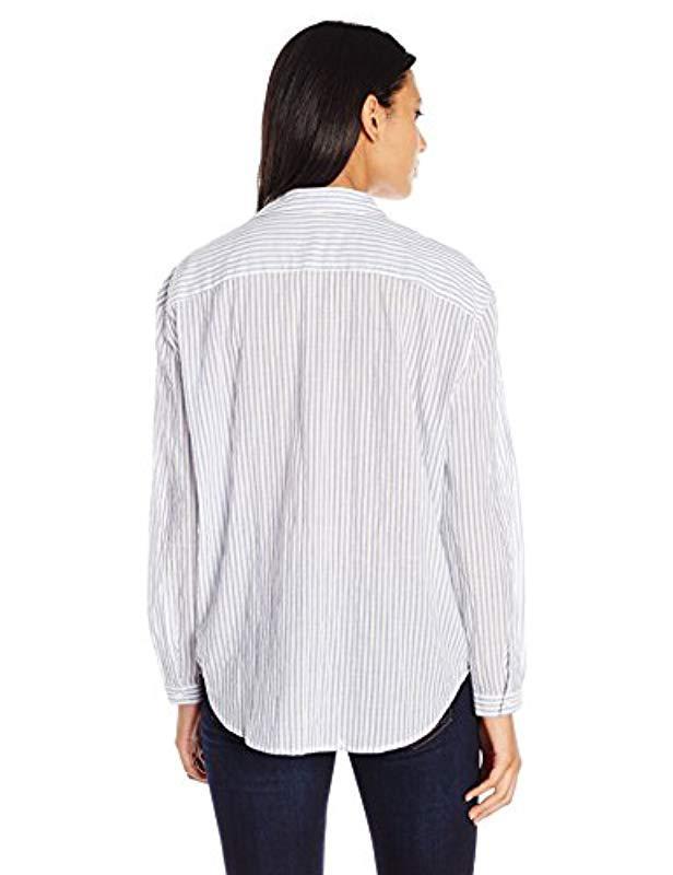 daff69951 Lyst - Joe's Jeans Long Dana Striped Woven Shirt in White - Save 60%