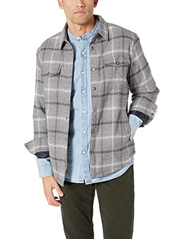996cb75d12f11 Lyst - Lucky Brand Plaid Sherpa Shirt Jacket in Gray for Men - Save 13%
