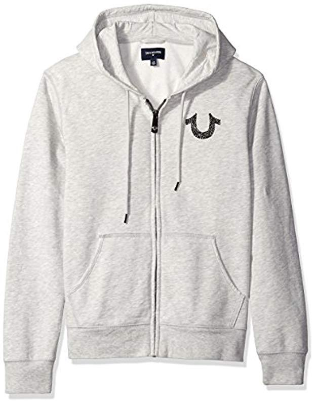 60eda2bc5 True Religion Shoestring Horseshoe Hoodie Grey in Gray for Men - Lyst