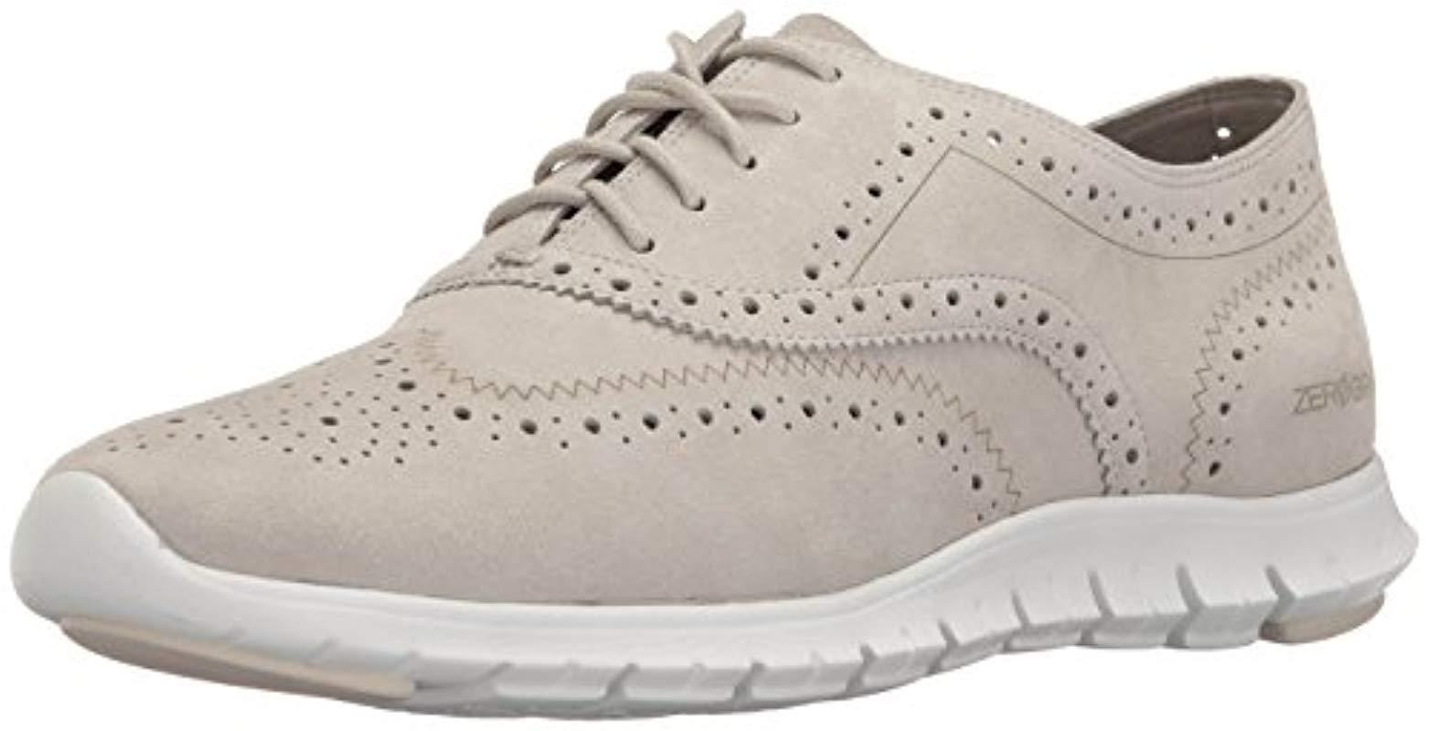 cb3db4153d Lyst - Cole Haan Zerogrand Wing Oxford Open Hole in White - Save 20%