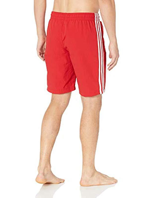 32656a7b1eee9 Lyst - adidas Originals 3-stripes Swim Trunks in Red for Men