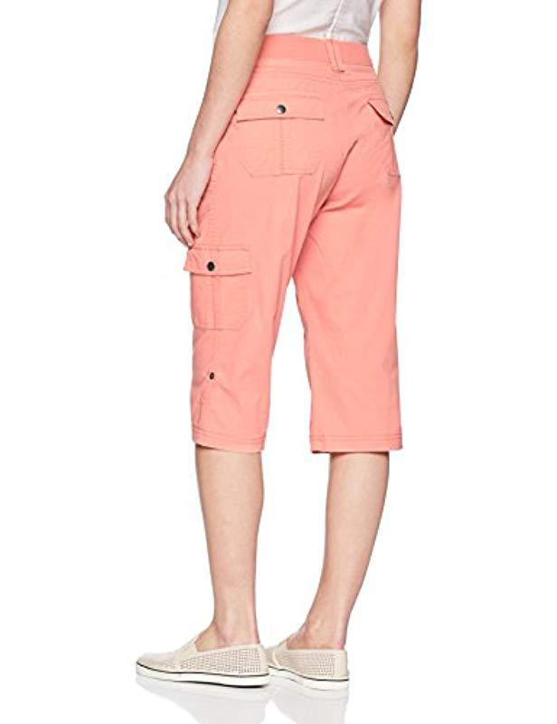 a58aabb8 Lyst - Lee Jeans Petite Relaxed Fit Skye Knit Waist Cargo Capri Pant in Pink
